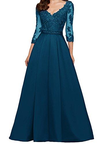 mit Ärmeln for Ballkleid linie 4 LuckyShe Damen Spitze Hochzeitsgäste Abendkleider 3 Stahlblau Lang A f00z7q
