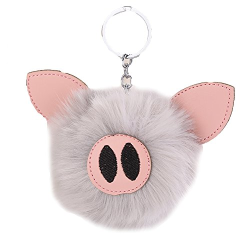 ZTL Lovely Pig Fluffy Fur Ball Pom Pom Keychain Keyring Bag Purse Charm Pendant