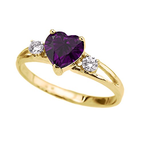 Precious 10k Yellow Gold February Birthstone Heart Proposal/Promise Ring with White Topaz (Size 6)