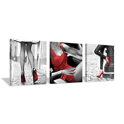 - Hardy Gallery Fashion Women Art Wall Decor: Red High Heels & Skirts Print on Canvas Art for Girls