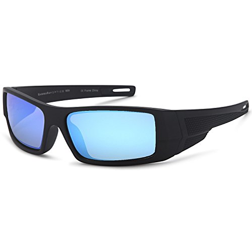 GAMMA RAY Polarized Wrap Around Sports Sunglasses with Shatterproof Nylon Frame - Black Frame Blue Mirror - Sunglasses Men Wraparound