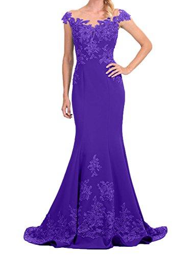 Spitze Abendkleider Etuikleider Lila Damen Partykleider mit Charmant Langes Neu Abschlussballkleider Applikation PS5nq4
