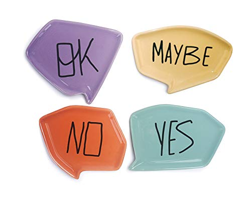 Bico Yes No Maybe Ok Ceramic Appetizer Dessert Plates, 6 inches Plate Set of 4, Microwave & Dishwasher Safe, Jewelry Trinket Dish, Soap Holder, House Warming Anniversary Birthday Wedding ()
