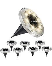 Solar Ground Lights - 8 LED Solar Garden Lights Outdoor, Disk Lights Waterproof In-Ground Landscape Lighting for Lawn Patio Yard Pathway Deck Walkway Flood Light