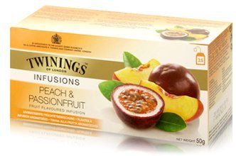 Twinings Peach and Passion fruit Tea 2g./sachets 25 Sachets/box Sweet and Sour Flavour (Twinings Fruit Strawberry)