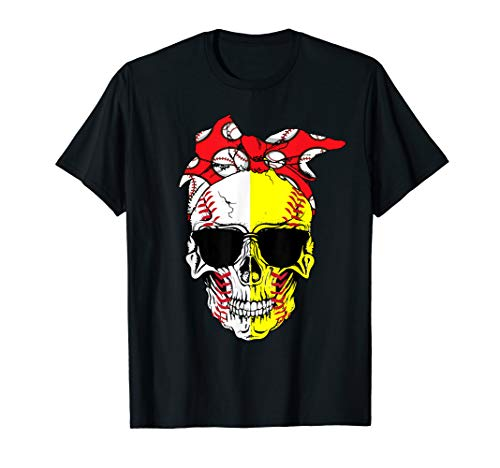Skull With Red Bow Softball Baseball Tshirt For Women Gifts