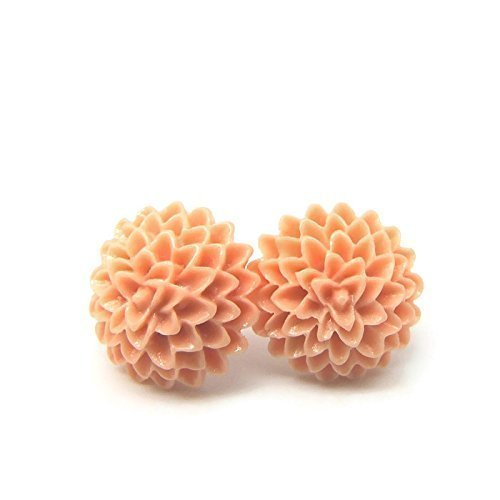 Dahlia Earrings on Plastic Posts for Metal Sensitive Ears, 15mm Light Coral Pink - Pink Coral Earrings