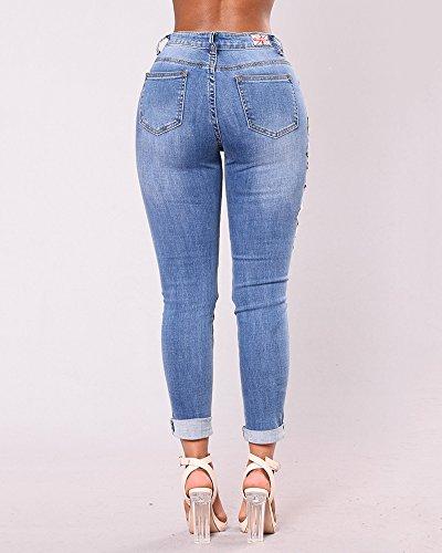 Trou Pantalon Port Bleu Dchir droit Crayon Jeans Skinny lasticit Pants fonc Denim Pantalon Slim Femmes BFqwxntUXX