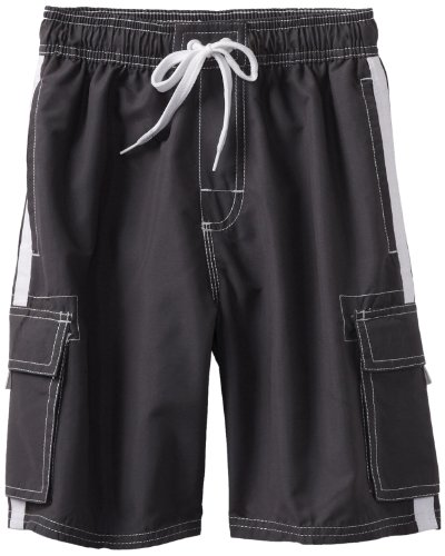 Kanu Surf Big Boys' Barracuda Quick Dry Beach Swim Trunk, Charcoal, Medium (10/12) (Boys Microfiber Cargo Pants)