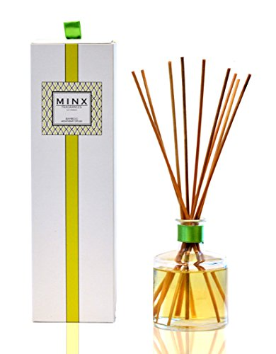 MINX Fragrances Bamboo Aromatherapy Oil Reed Diffuser Gift Set   Green Citrus, Orchid, Jasmine & Musky Amber   Air freshener for The Home or Office   Great Decor or Gift Idea!