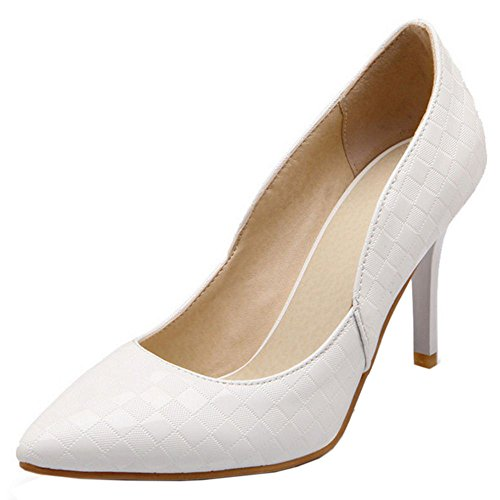 COOLCEPT Damen Mode-Event Floral Basic Office Pumps Thin High Heels Party Dress White