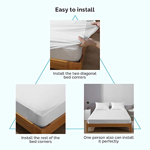 "Beclecor Waterproof Mattress Protector, Breathable Comfortable Smooth Surface Mattress Cover for Maximum Protection ,18"" Deep Pocket -Queen"