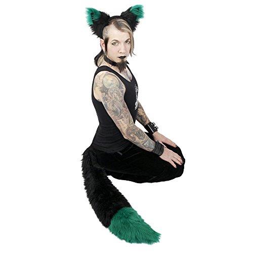Pawstar Yip Tip Dark Fox Furry Ear Headband and Plush Tail Costume Combo - (Green Fox Fur Headband)