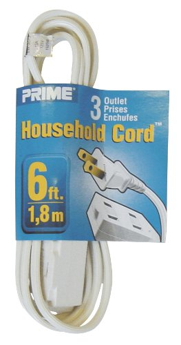 Prime Wire & Cable EC660606 6-Foot 16/2 SPT-2 3-Outlet Cord, White ...