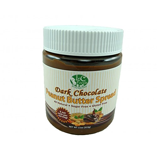 Low Carb Dark Chocolate Peanut Butter Spread - LC Foods - All Natural - Gluten Free - No Sugar - Diabetic Friendly - 11 oz