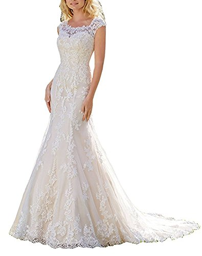 Bateau White Floral Lace Mermaid Long Wedding Dresses for Bride Size 20W,W2 - Order W2 Forms