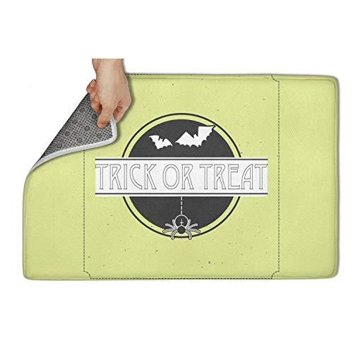 Koldd Bat Fly Trick or Treat Halloween Outdoor Door Mats 23.5x15.5 Easy to Dry Door Mat Extra Absorbent Door Mats -