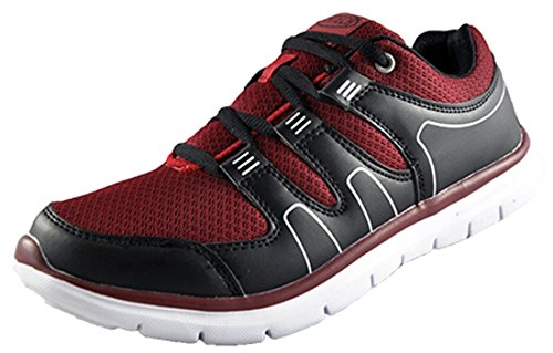 Mens Air Tech Athletic Running Trainers Gym Lightweight Lace Up Sports Shoes Size UK 7 - UK 11 Black/Burgundy BN30Th