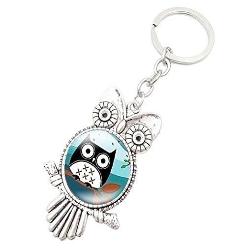 SUPPION Retro Owl Time Gemstone Metal Key chain Glass Key chain - Cute Glasses Cheap