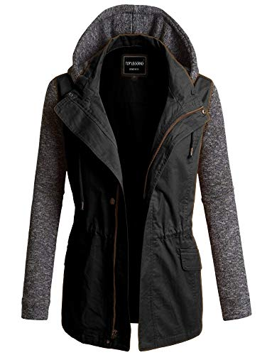 (TOP LEGGING TL Women's Versatile Militray Anorak Parka Hoodie Jackets with Drawstring 495_ Black S)