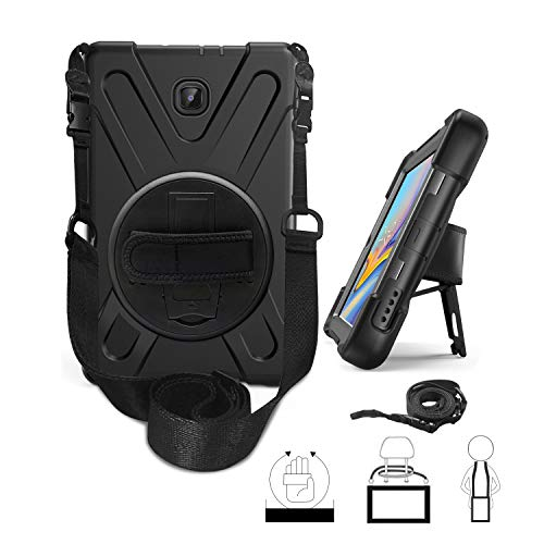 Galaxy Tab A 8.0 2018 Case, Hybrid Three Layer Heavy Duty Protective Case With Hand Strap, Shoulder Strap & 360 Rotating KickStand for Samsung Galaxy Tab A 8 Inch 2018 Release SM-T387 - Black