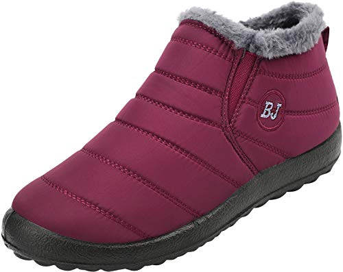 JOINFREE Womens Cozy Waterproof Boots Winter Footwear with Oxford Cloth Wine Red 4.5 M ()