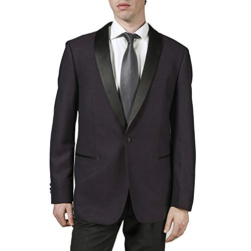 London Fog Men's L79624 Classic Fit Satin Shawl Collar 2-Piece Tuxedo Suit Set - Wine Textured - 46R ()