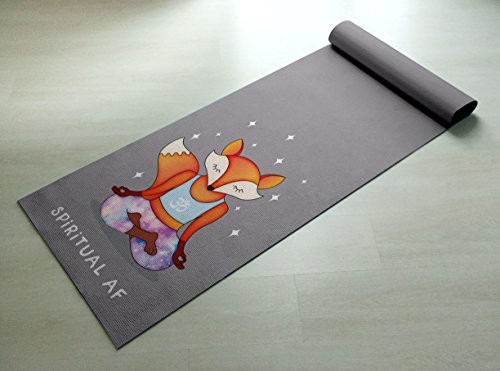 Spiritual AF Orange & Purple Fox Yoga Mat - Practice Yoga In Style [Gift Idea / Fun Present] Exercise Mat / Cute Animal Yoga Mat by Ideas By Arianna
