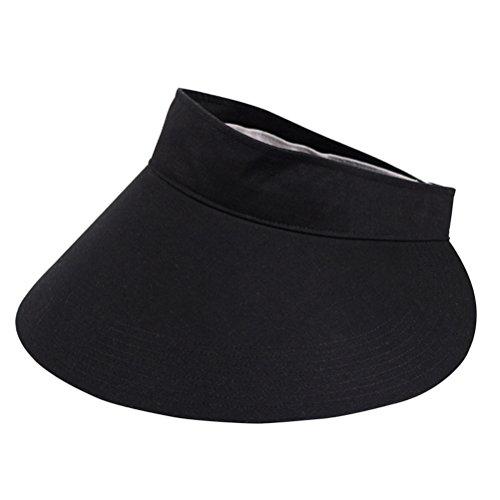 CACUSS Women's Summer Sun Hat Large Brim Visor Adjustable Velcro Packable UPF 50+ (Black) by CACUSS (Image #2)