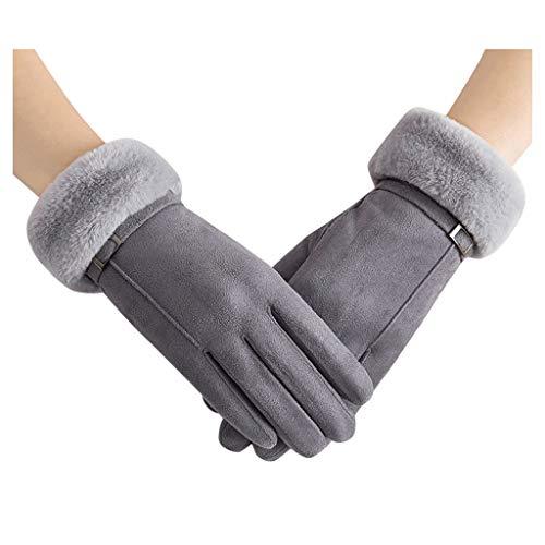 TOTAMALA Winter Gloves Tea Party Warm Faux Suede Gloves Wrist Mittens Driving Ski Glove