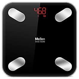 Bluetooth Body Fat Scale with Free iOS and Android App,Wireless Digital Body Fat Weight Scale for Body Weight, Water,Muscle Mass, BMI, BMR, Bone Mass and Visceral Fat,Black