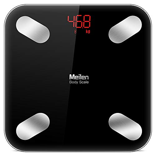 Bluetooth Body Fat Scale with Free iOS and Android App, Wireless Digital Body Fat Weight Scale for Body Weight, Water, Muscle Mass, BMI, BMR, Bone Mass and Visceral Fat, Black