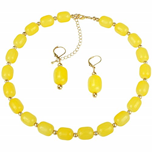 Gold-plated Yellow Glass Bead Strand Necklace and Earrings Set ()