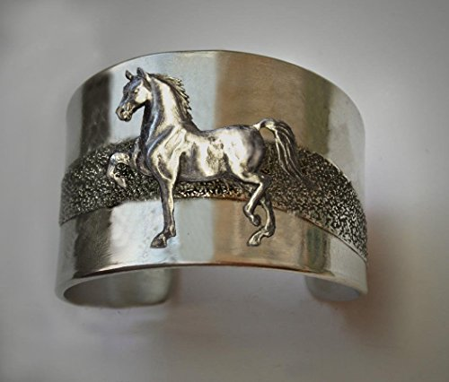Horse Lady Gifts bracelet, Morgan Horse cuff bracelet in silvery pewter handmade by the artist USA
