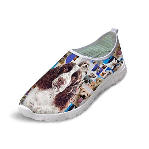 Mens Animal Basset Hound Ademend Mesh Sportschoenen Sneakers 43