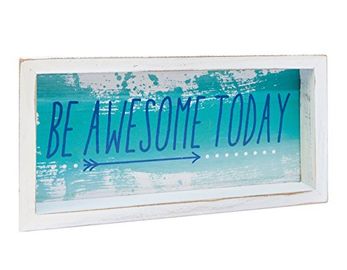 Be Awesome Today Blue Arrow 12 x 6 Inch Wood Decorative Shadow Box Sign