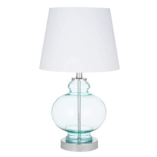 Ravenna Home Modern Round Table Lamp With LED Light Bulb – 17.50 Inches, Chrome with Blue Glass