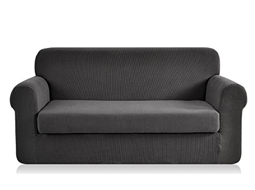 CHUN YI 2-Piece Jacquard Stretch Loveseat Slipcover, Polyester and Spandex 2 Seater Cushion Couch Sofa Settee Cover Coat Slipcover, Furniture Protector Cover for Sofa and Couch (Loveseat, Gray) (Settee Leather Red)