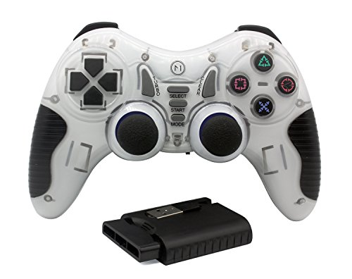 Ps2 White Wireless Controller - C-Zone 6 in 1 2.4G Wireless Technology Gamepad/Game Controller for PC/PS1/PS2/PS3/PC360/Android TV/TV Box/PC/Tablet-White