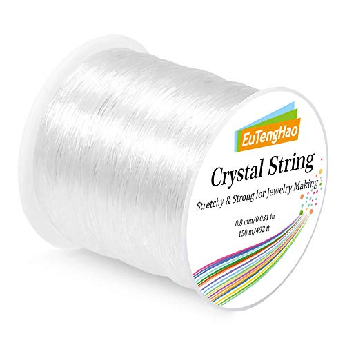 EuTengHao 0.8mm Elastic Bracelet String, Crystal String Cord for Bracelet, 150m Elastic Cord Stretchy Bracelet String Bead Cord Jewelry String for Bracelet, Beading, Jewelry Making(150m/492ft, 0.8mm)