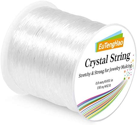 EuTengHao 0.8mm Elastic Bracelet String, Crystal String Cord for Bracelet, 150m Elastic Cord Stretchy Bracelet String Bead Cord Jewelry String for Bracelet, Beading, Jewelry Making(150m/492ft, 0.8mm)