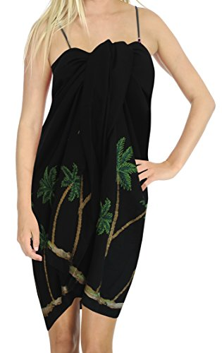 La Leela Rayon Palme schwarze Tunika Bikinibadeanzug Sarong Pareo 78x39 Zoll