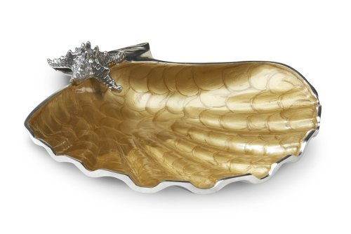 Christmas Tablescape Decor - Toffee and silver metal scallop starfish bowl by Julia Knight