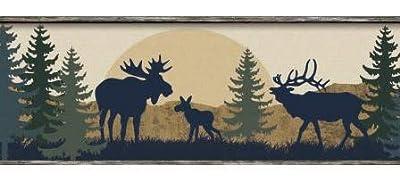 Moose Bear and Elk Silhouettes Wallpaper Border BP8395bd