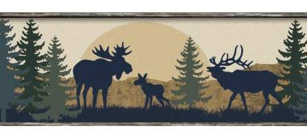 Moose Bear and Elk Silhouettes Wallpaper Border BP8395bd