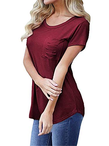 Tasche Moda Cavo Monocromo Accogliente Corta Tshirt Anteriori Burgund Shirts Estivi Manica Rotondo Ragazza Collo Chic Slim Elegante Top Donna di Moda T Fit Shirt aa80XU