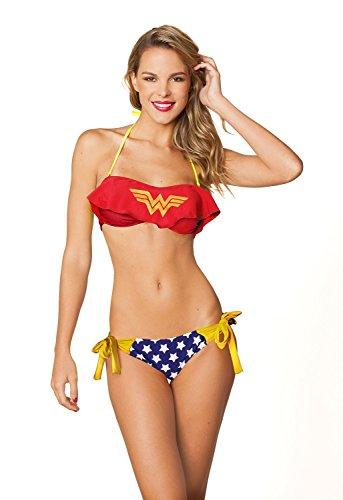 Dc Comics Sexy Wonder Woman Cami Ruffle Bandeau Side Tie Bottom Bikini set-Xlarge