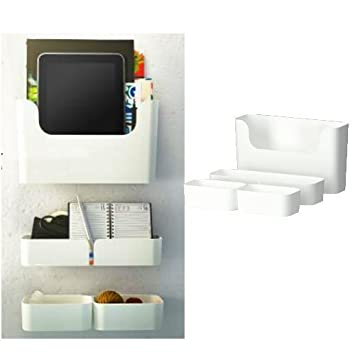 Ikea Pluggis 7 Piece Organizer Containers Set With Wall Mount Rails