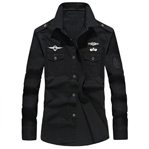Realdo Mens Military Cargo Workwear, Autumn Casual Durable M65 Button Down Long Sleeve Shirt Top Blouse(Black,XXX-Large) -