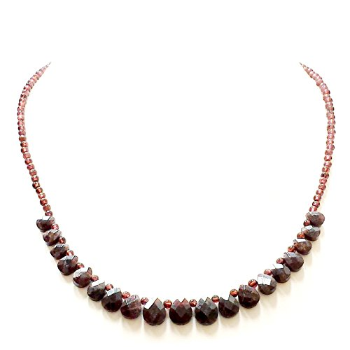 .925 Sterling Silver Garnet Drop Beads Necklace